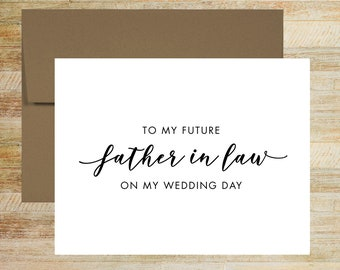 Father In Law Wedding Card | To My Father In Law On My Wedding Day | Card For Father of the Bride | Father of the Groom | PRINTED