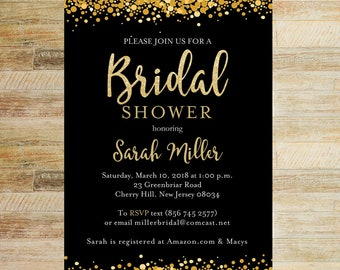 Gold and Glitter Bridal Shower Invitation | PRINTABLE FILE