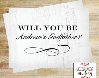 Will You Be My Godparents Card | Card for Godfather | Godmother Proposal Card | Baptism Godparent Card | PRINTED