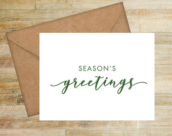Seasons Greetings Personalized Holiday Cards | Pack of 10 | Merry Christmas | Happy Holidays | PRINTED