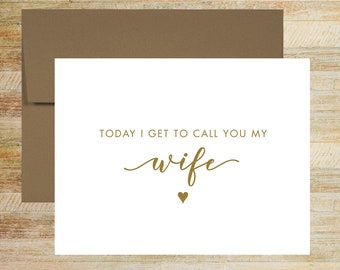 To My Wife Wedding Day Card   Card for Bride   PRINTED