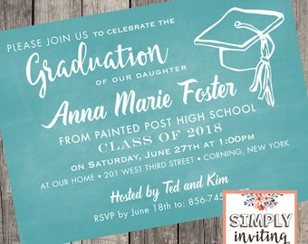 Graduation Invitations | Set of 10 | High School Graduation | College Graduation Party | Class of 2019 | Chalkboard Graduation Invites