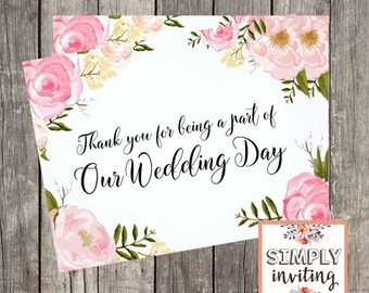 Wedding Day Thank You Card | Pink Floral Wedding Card for Vendor | Special Thank You Card for Friend | PRINTED