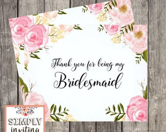 Bridal Party Thank You Card Set / Printed Thank You Card for Bridesmaid / Maid of Honor Card / Flower Girl Thank You / Matron of Honor Card