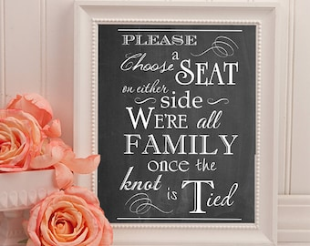 Choose A Seat Not A Side Wedding Sign | 16 x 20 | Wedding Ceremony Sign | INSTANT DOWNLOAD