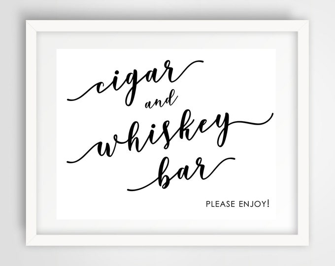 Cigar and Whiskey Bar Sign | 8 x 10 | Wedding Reception Sign | INSTANT DOWNLOAD
