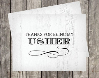 Wedding Usher Thank You Card | Card for Usher | Wedding Host Thank You | Thanks For Being My Usher | Wedding Greeter Card | PRINTED