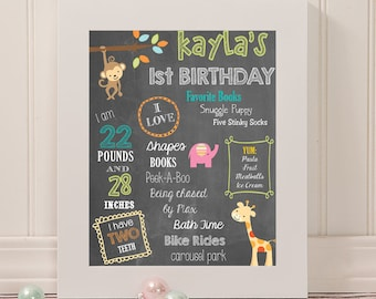 Jungle Animals First Birthday Poster | 16 x 20 | Birthday Party Stats Sign | DIGITAL FILE