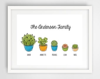 Succulent Plant Family Digital File | 11 x 14 Personalized Family Digital Art | Family Wall Print | Housewarming Gift | PRINTABLE FILE