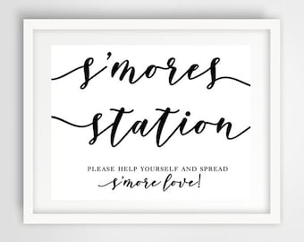 S'mores Station Wedding Sign | 8 x 10 | Wedding Reception Sign | INSTANT DOWNLOAD