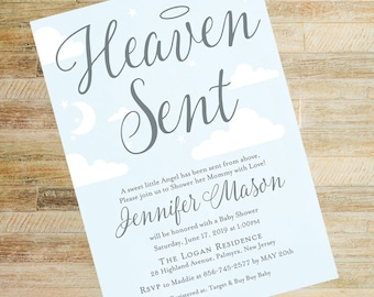 Heaven Sent Sky and Silver Baby Shower Invitations | Books for Baby and Diaper Raffle Cards | Set of 10 | PRINTED