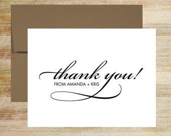 Personalized Wedding Thank You Cards | Set of 10 | Classic Calligraphy Wedding Stationery | PRINTED