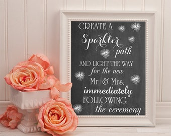 Sparkler Send Off Chalkboard Sign | 16 x 20 | PRINTABLE FILE