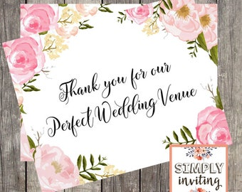 Wedding Venue Thank You Card | Card for Reception Venue | Pink Floral Wedding Day Card for Caterer | PRINTED