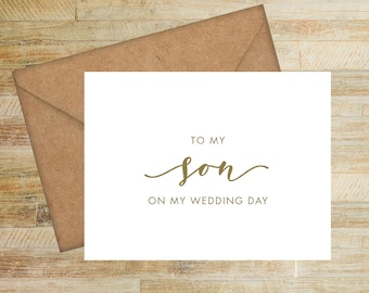 To My Son on My Wedding Day | Card For Son | Wedding Family Card | PRINTED