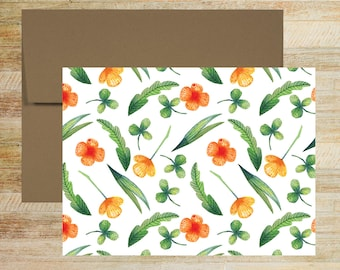 Watercolor Floral Note Cards | Set of 5 | Unique Stationery Gifts | Tiny Flowers and Clover Pattern | PRINTED