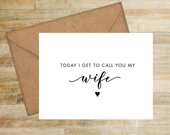 To My Wife Wedding Day Card | Card for Bride | PRINTED