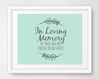 In Loving Memory Wedding Sign | 8 x 10 and 5 x 7 | Mint Green and Slate Gray | Shower Printables | Non-Editable PDF Files | INSTANT DOWNLOAD