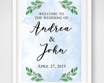 Watercolor Leaves Wedding Welcome Sign | 24 x 36 | Spring Wedding Ceremony Sign | DIGITAL FILE