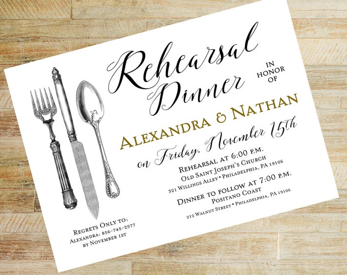 Vintage Silverware Rehearsal Dinner Invitations | Set of 10 | Wedding Rehearsal Dinner Invites | PRINTED