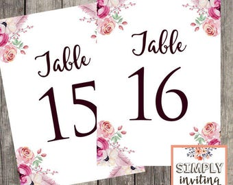 Wedding Reception Table Number Cards | Tables 11 - 20 | Floral Wedding | INSTANT DOWNLOAD