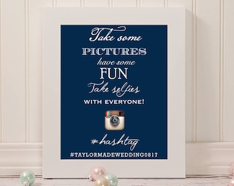 Wedding Social Media Hashtag Selfie Sign | 8 x 10 | Wedding Reception Sign | DIGITAL FILE