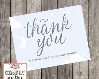 Heaven Sent Silver Shower Thank You Cards | Set of 10 | Baby Boy Shower Note Cards | Halo Thank You Cards | Sky Blue Shower Cards | PRINTED