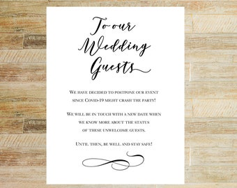 Wedding Postponement Card | Event Cancellation | Card for Wedding Guests | INSTANT DOWNLOAD