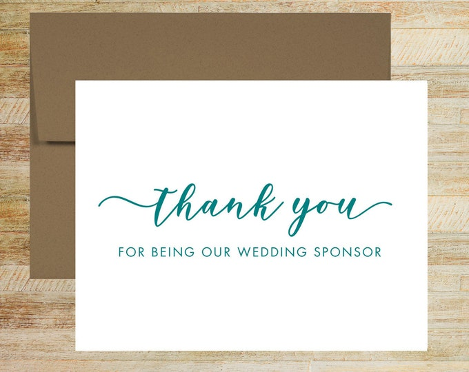 Wedding Sponsor Thank You Card | Card For Best Friend | Wedding Card for Family | PRINTED