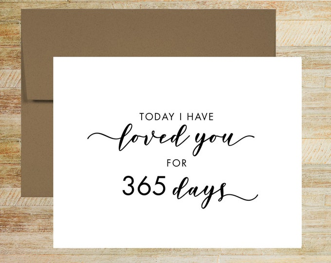 Today I Have Loved You for 365 Days | Customized Greeting Card | Card for Bride | Wedding Day Card for Groom | PRINTED