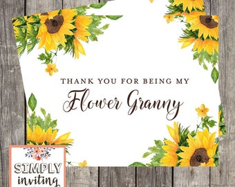 Flower Granny Thank You Card | Sunflowers Wedding Day Card | Thank You For Being My Flower Granny | PRINTED