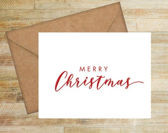 Merry Christmas | Personalized Greeting Cards | Pack of 10 | Simple Christmas | Seasons Greetings | Happy Holiday | PRINTED
