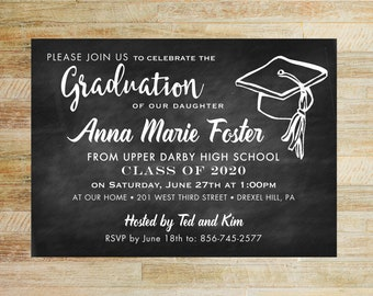 Graduation Invitations | Set of 10 | High School Graduation | College Graduation Party | Class of 2020 | Chalkboard Graduation Invites