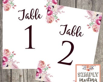 Wedding Reception Table Number Cards | Tables 1 - 10 | Floral Wedding | INSTANT DOWNLOAD