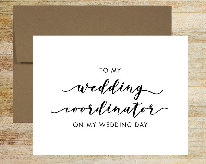 Wedding Coordinator Thank You Card | Wedding Day Card for Vendor | PRINTED