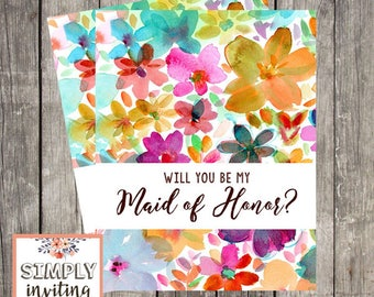 Will You Be My Maid of Honor | Card for Maid of Honor | Floral Maid of Honor Request Card | Maid of Honor Proposal Card |  PRINTED