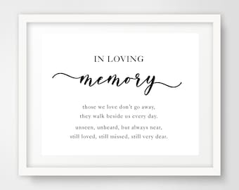 In Loving Memory Poem Wedding Sign | 8 x 10 | Wedding Printables | INSTANT DOWNLOAD