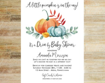 Little Pumpkin Baby Shower Invitations | Drive By Shower | Set of 10 | Books for Baby and Thank You Cards | PRINTED