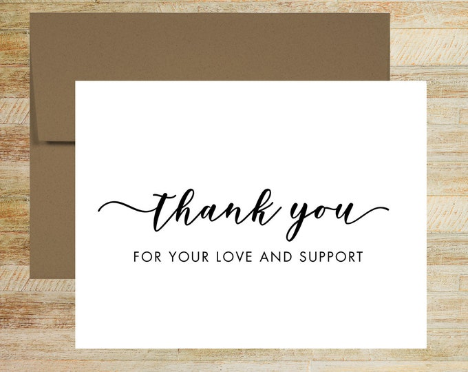 Thank You for Your Love and Support | Thank You Card For Wedding and Special Event | PRINTED