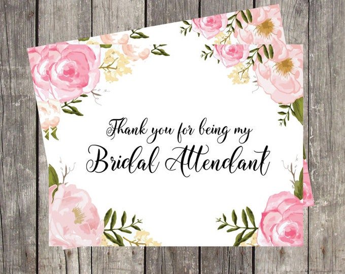 Thank You Card for Bridal Attendant | Pink Floral | Bridal Party Wedding Thank You Card | PRINTED