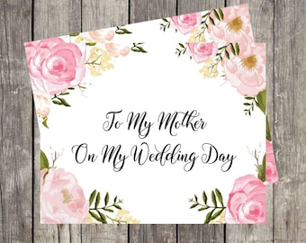 To My Mother on My Wedding Day   Printed Wedding Day Card for Mom   Mother of the Bride Wedding Card   Mother in Law Card   PRINTED