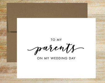 To My Parents On My Wedding Day   Card For Parents of the Bride   Parents of the Groom Card   PRINTED