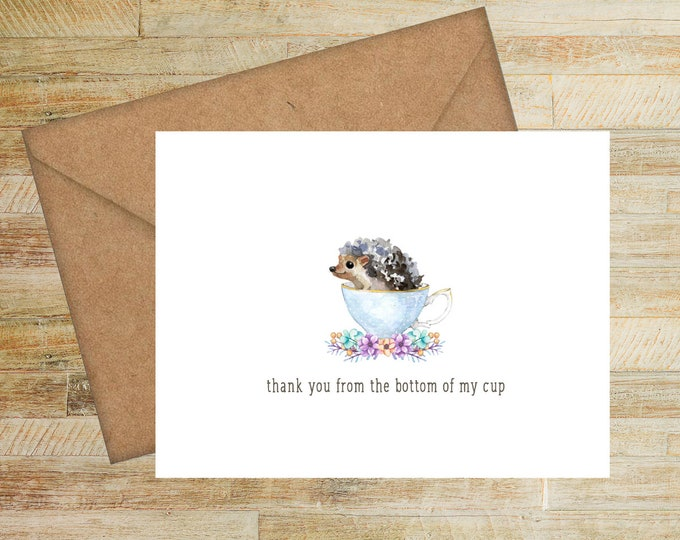 PRINTED Birthday Gift Set Cartoon Critters Stationery Note Cards| Set of 10 Funny Greeting Card Notes Gift for Teens