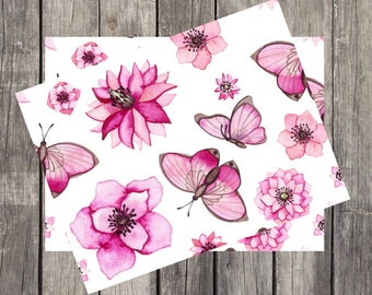 Floral Butterfly Note Cards | Set of 5 | Stationery Gifts | Teen Thank You Cards | Butterflies and Dots Note Card | Gifts for Her | PRINTED