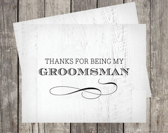 Groomsman Thank You Card | Rustic Wedding Card for Groomsman | PRINTED