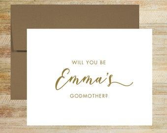Will You Be My Godmother Card | Godparent Proposal Card | Baptism Godmother Card | Card for Godparents | PRINTED