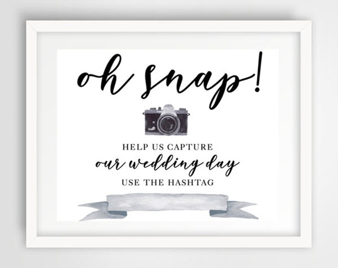 Wedding Hashtag Photo Sign | 8 x 10 | Wedding Reception Sign | INSTANT DOWNLOAD