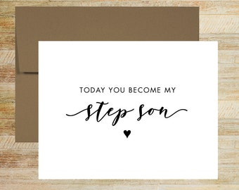 Today You Become My Step Son Wedding Day Card   Card for Son of the Groom   Son of the Bride Card   PRINTED