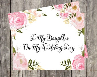 To My Daughter on My Wedding Day   Printed Card for Daughter   Bridal Note Card   Wedding Day Card for Daughter   Special Wedding Gift Card