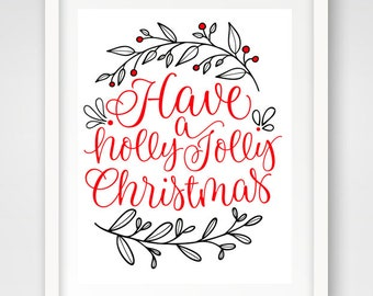 Holly Jolly Christmas   Set of 3 16 x 20 Holiday Printables   Christmas Decor   Typography Print   Holiday Song Print   Instant Download
